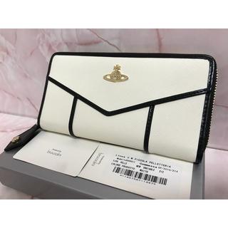 Vivienne Westwood - 白×黒ライン長財布⭐︎ヴィヴィアンウエストウッド⭐︎ラウンドファスナー
