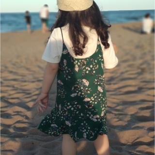 グリーン130・新品2点上下セット子供服花柄ワンピースTシャツ女の子かわいい(ワンピース)
