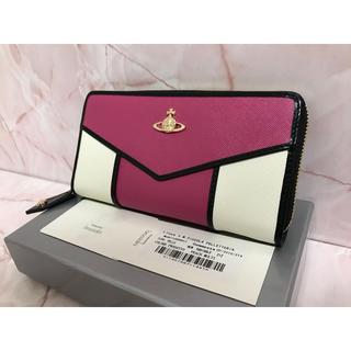 ヴィヴィアンウエストウッド(Vivienne Westwood)のピンク×白長財布❤️ヴィヴィアンウエストウッド❤️ラウンドファスナー(財布)