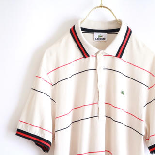 ラコステ(LACOSTE)の【LACOSTE】紺赤ボーダー ポロシャツ☆(ポロシャツ)