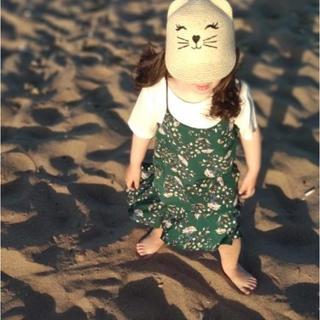 110・2点セット花柄ワンピース韓国子供服女の子グリーンTシャツ100120(ワンピース)