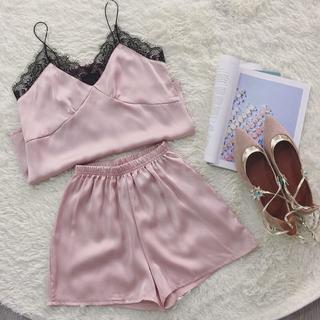 【ピンク】シルク パジャマ レディース キャミ 上下セット ルームウェアー