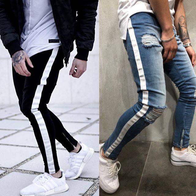 サイズが選べる ダメージデニム ダメージジーンズ ネイビー ブルー 青 紺 メンズのパンツ(デニム/ジーンズ)の商品写真