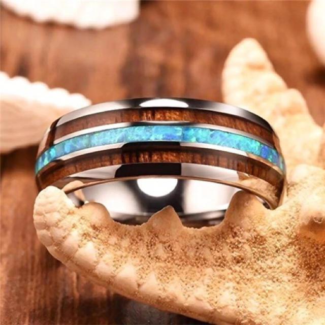 ステンレスリング ターコイズブルー レディースのアクセサリー(リング(指輪))の商品写真