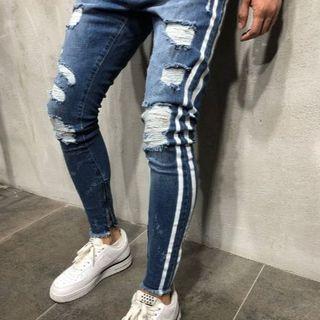 サイズが選べる ダメージデニム ネイビー ブルー 青 紺 ダメージジーンズ