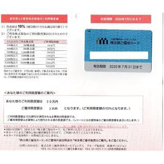 限度額30万円 三越伊勢丹 株主優待カード 10%割引 2020年7月31日迄