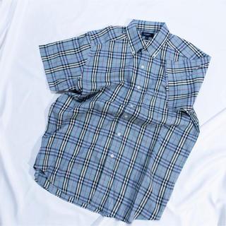 BURBERRY - ライトブルー バーバリーチェックシャツ