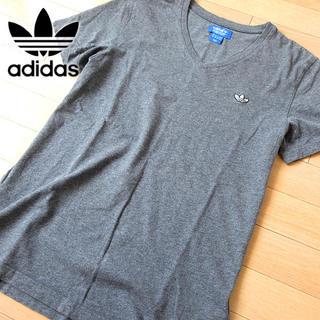 アディダス(adidas)の超美品 Lサイズ アディダスオリジナルス メンズ トレフォイルTシャツ グレー(Tシャツ/カットソー(半袖/袖なし))
