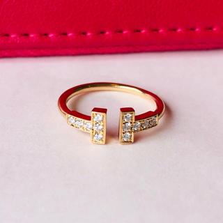 ティファニー(Tiffany & Co.)の値下げ ティファニーTリング ダイヤk18(リング(指輪))