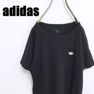 アディダス(adidas)の90s adidas アディダス Tシャツ ワンポイント 万国旗タグ ブラック(Tシャツ/カットソー(半袖/袖なし))