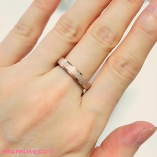 13号サイズ ステンレス製 ピンクゴールドザラザラリング 幅4mm 指輪(リング(指輪))