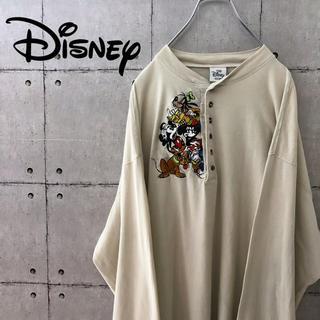 Disney - 【超レア】90s ディズニー ミッキー ビッグ ロンTシャツ ヘンリーネック