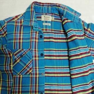 ALCARZA  ヘビーウェイフランネルチェックシャツ M ターコイズ(シャツ)