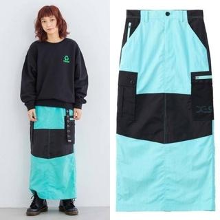 エックスガール(X-girl)の新品 X-girl   ストレートシルエットのロングスカート 1 グリーン(ロングスカート)