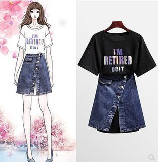 【即購入OK】大きいサイズ Tシャツワンピース&デニムスカートセット