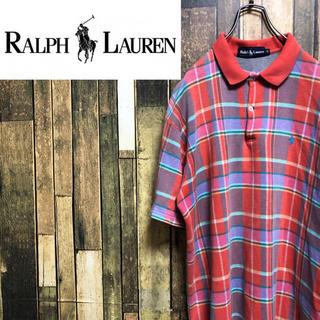 Ralph Lauren - 【激レア】ラルフローレン☆USA製ワンポイント刺繍チェック柄ポロシャツ 90s