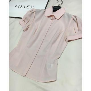 フォクシー(FOXEY)のfoxey new york パフスリーブ ブラウス ピンク シャツ フォクシー(シャツ/ブラウス(半袖/袖なし))