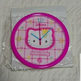 サンリオ(サンリオ)の*サンリオ キティ 壁掛け時計 ピンク 希少* 8.31(掛時計/柱時計)