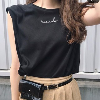 rienda - rienda リエンダ タックショルダーriendaロゴT/SH Tシャツ