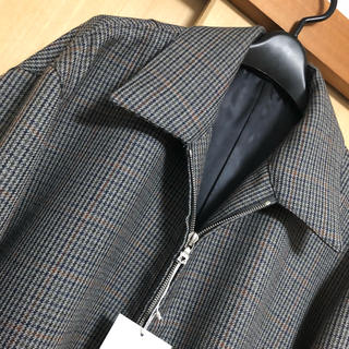 auralee DOUBLE FACE CHECK ZIP BLOUZON