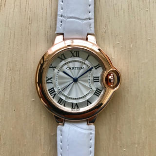 Cartier - レディース 腕時計 Cartier バロンブルー 38mm 白ベルト