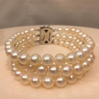 美品♡ あこや真珠 3連 ブレスレット 19i-50