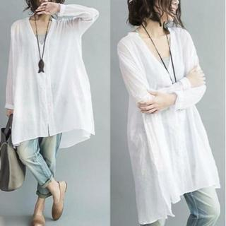 【激安】滑らかな生地なので肌触り 美しいドレープシャツ 白(シャツ/ブラウス(長袖/七分))