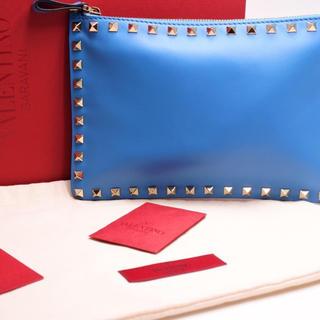 VALENTINO - ヴァレンティノ クラッチバッグ ブルー ロックスタッズ 箱付き 6228 美品