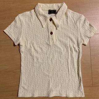 フェンディ(FENDI)の【FENDI】90s イタリア製 ズッカ柄 パイル ビンテージ 立体ロゴ(ポロシャツ)