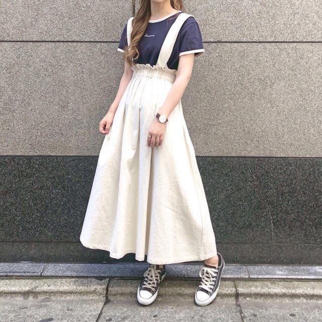 chocomee サスペンダースカート ホワイト レディースのスカート(その他)の商品写真