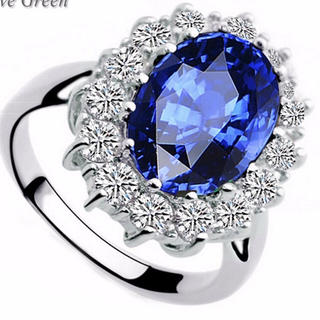 ローヤル ブルー サファイヤ フラワー リング 指輪 14号 綺麗な箱付き(リング(指輪))