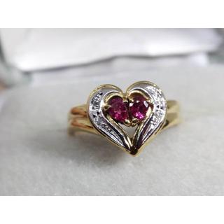 Pt900/K18 ルビーダイヤモンド リング ハートモチーフ 指輪 (リング(指輪))