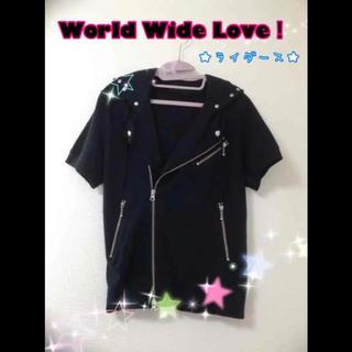 ワールドワイドラブ(WORLD WIDE LOVE!)の♡ワールドワイドラブ!♡ 鋲*スタッズ*原宿系*ロック系 ♩半袖ライダース♩(ライダースジャケット)