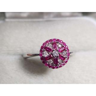 K18 天然ルビー0.40ct ダイヤモンド 0.08ct デザインリング 指輪(リング(指輪))