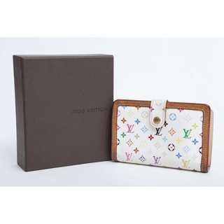 ルイヴィトン(LOUIS VUITTON)の美品 本物 ルイ ヴィトン マルチカラー がま口二つ折り財布 正規品(財布)