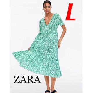 ZARA - 新品 完売品 ZARA L Vネック 裾フリル 花柄 ワンピース