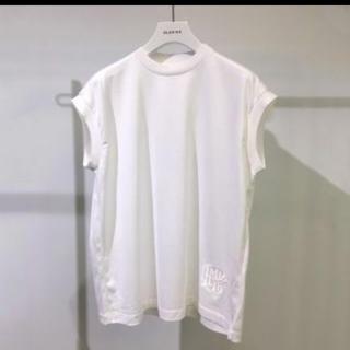 新品 BLAMINK ブラミンク コットンクルーネック刺繍ノースリーブTシャツ