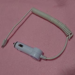 アイフォーン(iPhone)のスマホ 充電器 カーチャージャー iPhone 充電 ケーブル付き リール式 (バッテリー/充電器)
