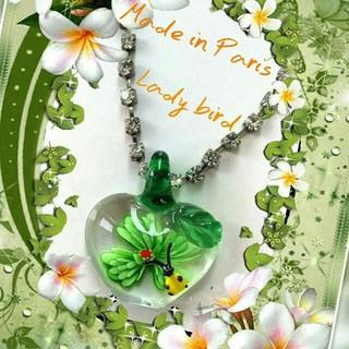 H.P.FRANCE - 新品 Glass art てんとう虫ネックレス フランス製 可愛い パリ購入