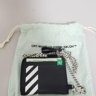 オフホワイト(OFF-WHITE)のOff-White Diag leather コインケース チェーン(コインケース/小銭入れ)
