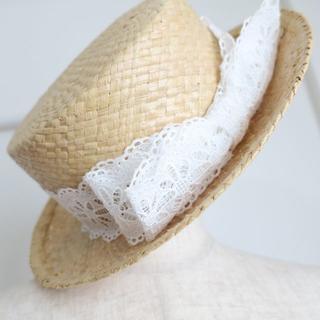 ジェーンマープル(JaneMarple)のjane marple ジェーンマープル カンカン帽 白 ハット(麦わら帽子/ストローハット)