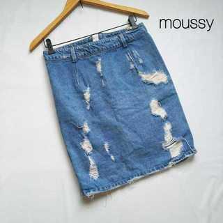 マウジー(moussy)のマウジー★ジップデザイン クラッシュデニムスカート 2 セクシー カジュアル★(ひざ丈スカート)