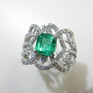 即決▶天然エメラルド1.00ct◆濃いグリーン◆プラチナ900製指輪(リング(指輪))