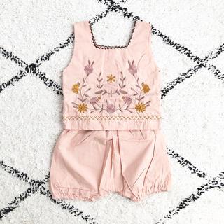 Caramel baby&child  - 韓国子供服 monmimi 刺繍 セットアップ 80 apolina