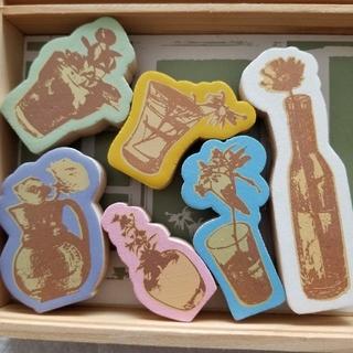 ミナペルホネン(mina perhonen)のアメリカで購入/フラワーモチーフスタンプセット新品/Wooden Flowers(はんこ)