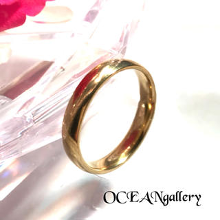 送料無料 16号 ゴールド サージカルステンレス シンプル甲丸リング 指輪(リング(指輪))