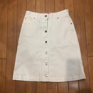 ヘザー(heather)のホワイトデニム スカート(ひざ丈スカート)