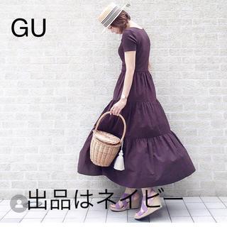 GU - GU 美品 ティアード マキシワンピ S ネイビー 完売 ティアードワンピース