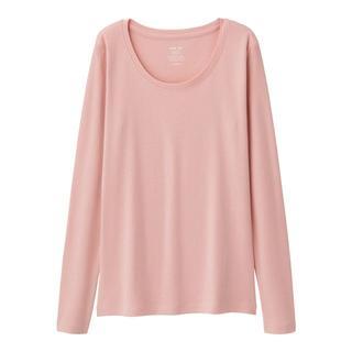 ジーユー(GU)の新品タグ付き S ピンク 長袖クルーネックTシャツ 綿100% 匿名配送(Tシャツ(長袖/七分))