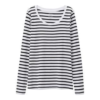 ジーユー(GU)の新品タグ付き XL 長袖ボーダークルーネックTシャツ 綿100% 匿名配送(Tシャツ(長袖/七分))